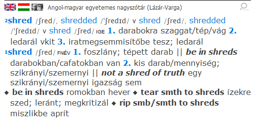 """""""shred"""" szócikk a Lázár-Varga angol-magyar szótárból"""