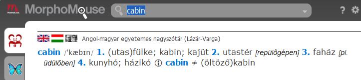 cabin szócikk a Lázár-Varga angolszótárban